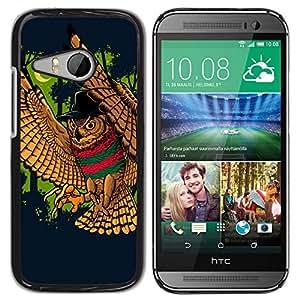 Qstar Arte & diseño plástico duro Fundas Cover Cubre Hard Case Cover para HTC ONE MINI 2 / M8 MINI ( Wild Owl Bird Forest Moon Crescent Fairytale)
