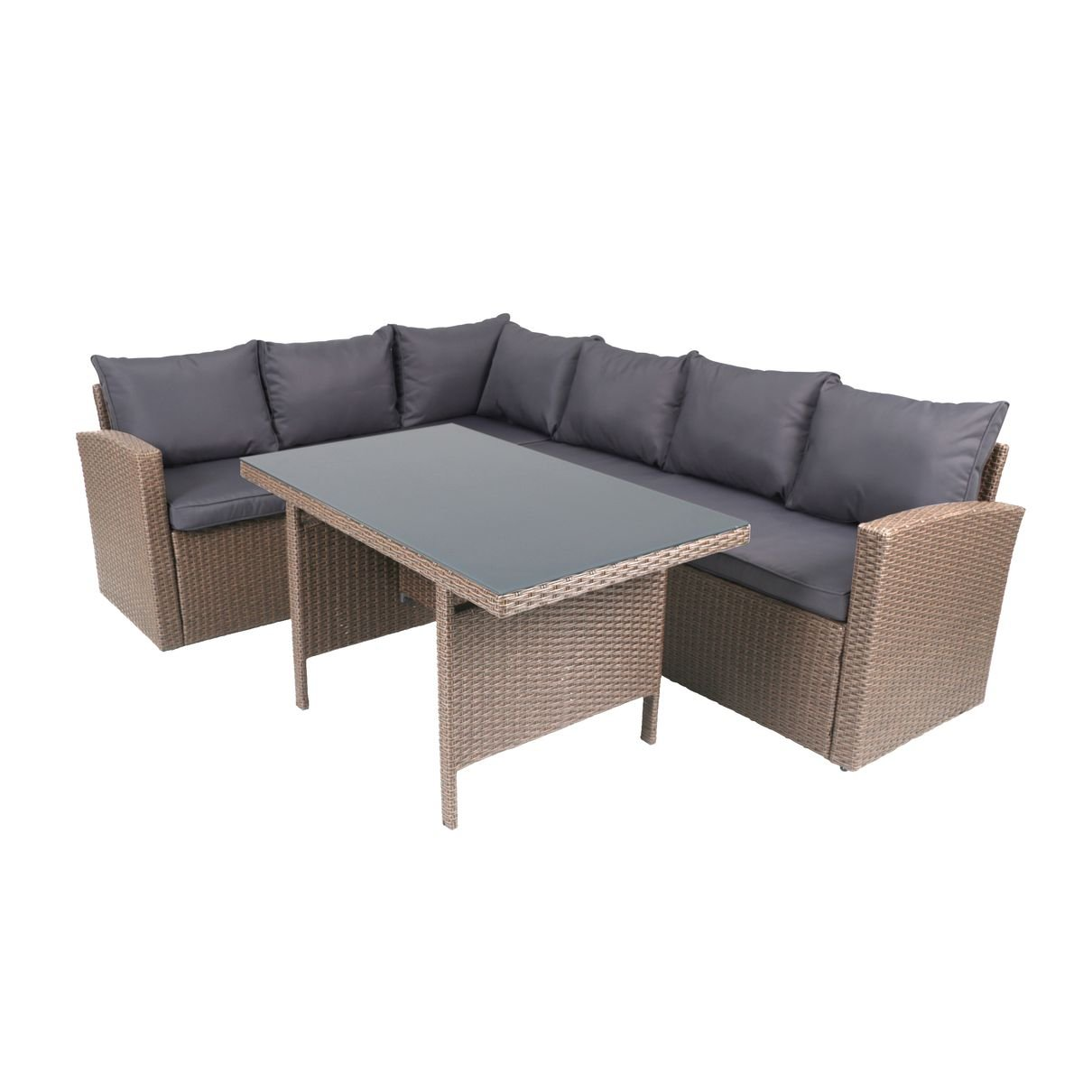 greemotion rattan lounge hamburg gartenm bel set 3 teilig aus polyrattan in braun mit auflagen. Black Bedroom Furniture Sets. Home Design Ideas