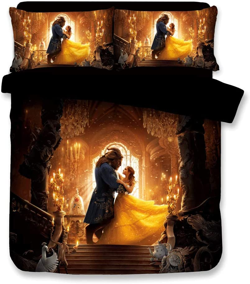 Sunday 3D Beauty and The Beast Duvet Cover Movie Bedding Sets with 3 Pieces 1 Duvet Cover 2 Pillowcases, Best Gift for Kids, King Size