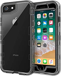 iPhone 8 Case, iPhone SE Case, Anuck 3 in 1 Heavy Duty Defender Shockproof Full-Body Clear Protective Case Hard Plastic Shell & Soft TPU Bumper Cover for Apple iPhone 7/8/SE 4.7 inch - Clear Black