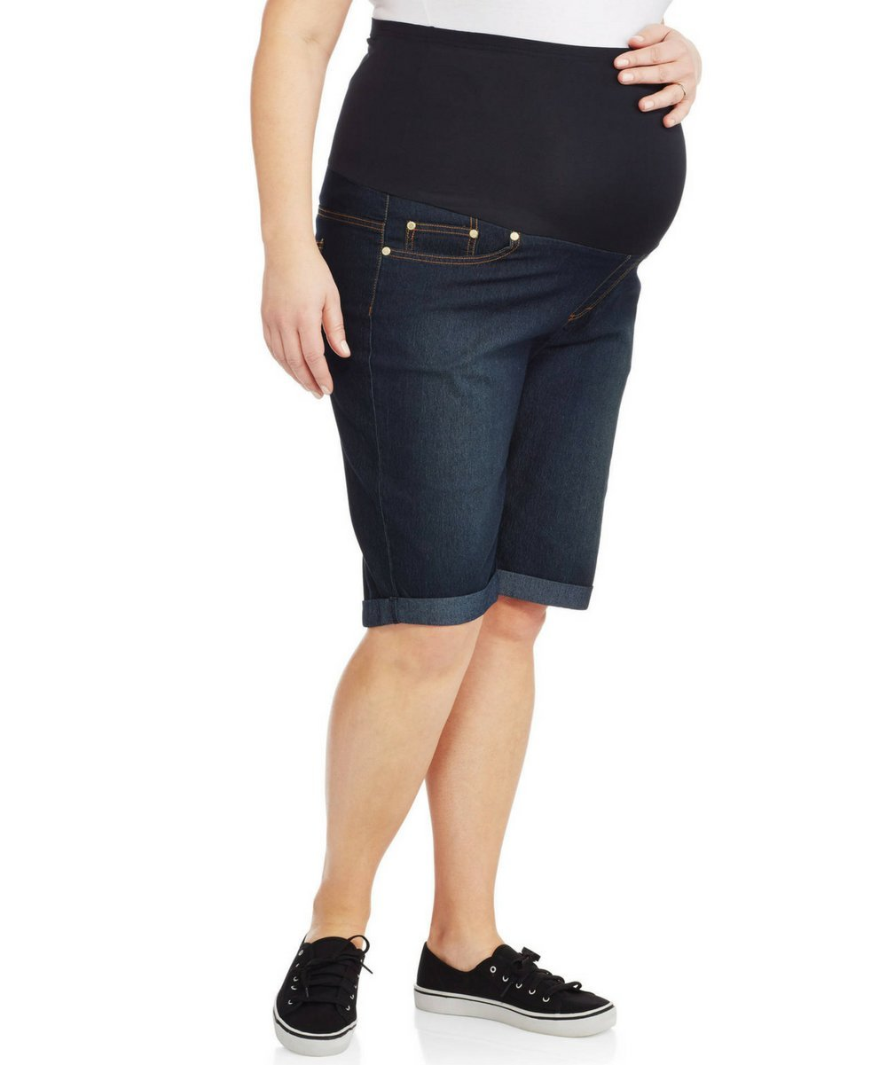 Rumor Has It Maternity Over The Belly Cuffed Bermuda Cropped Jeans Shorts (Medium, Dark)