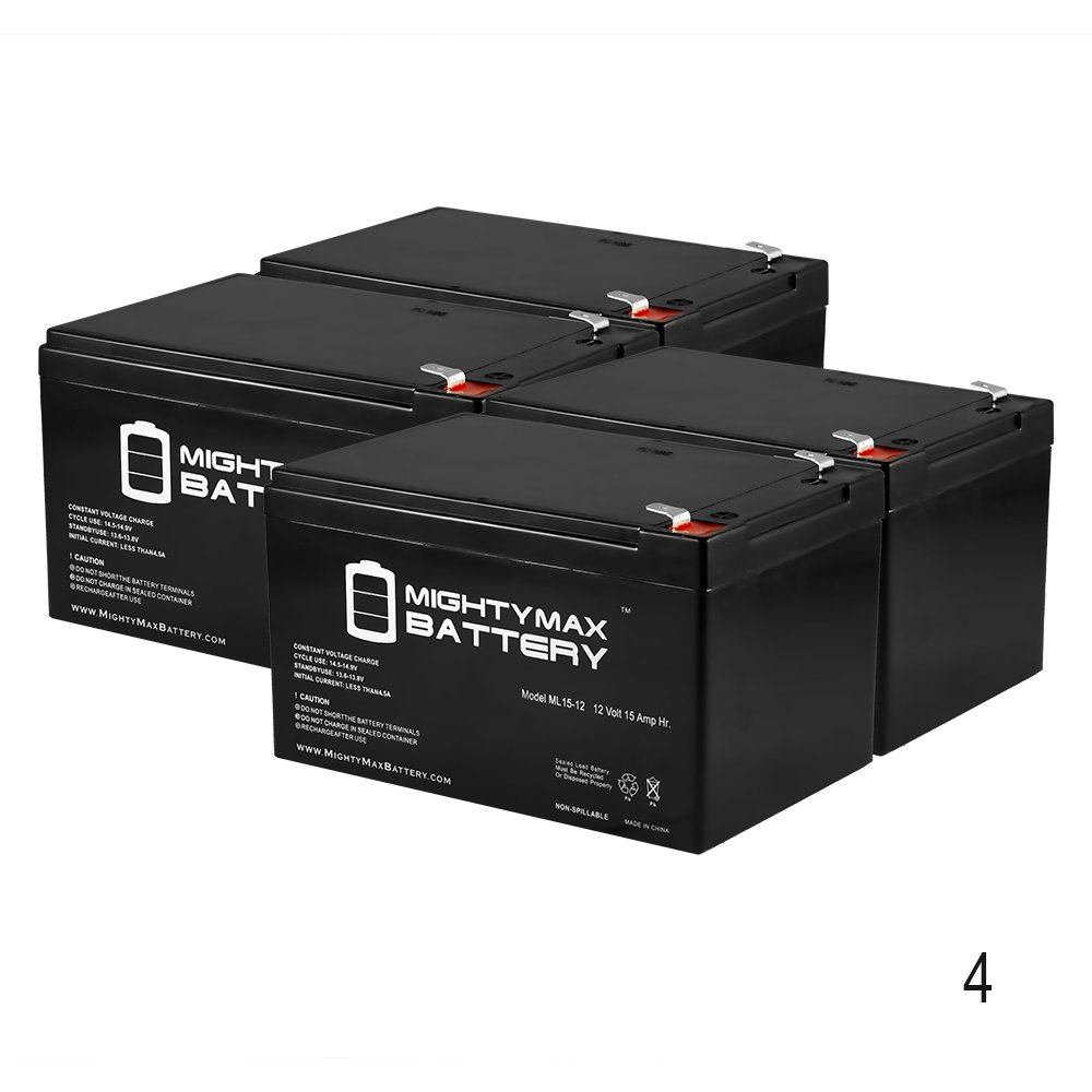 ML15-12 12V 15AH F2 X-treme XB-502, XB502 Extreme Electric Moped Bttry. - 4 Pack - Mighty Max Battery brand product