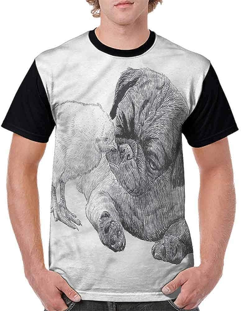 Casual Short Sleeve Graphic Tee Shirts,Pug Little Chick Hand Drawn Fashion Personality Customization