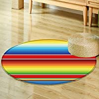 Round Rug Kid Carpet colorful mexican serape blanket seamless pattern vector  Home Decor Foor Carpe -Round 39