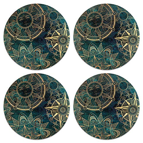(CARIBOU Coasters, Teal Bohemian Flowers Compass Design Absorbent Round Fabric Felt Neoprene Coasters for Drinks, 4pcs Set)