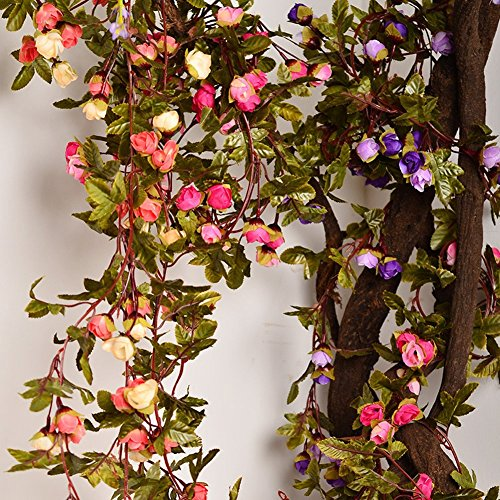 AmyHomie Artificial Rose Garland Silk Flower Vine for Valentine Home Wedding Garden Decoration (Champagne)