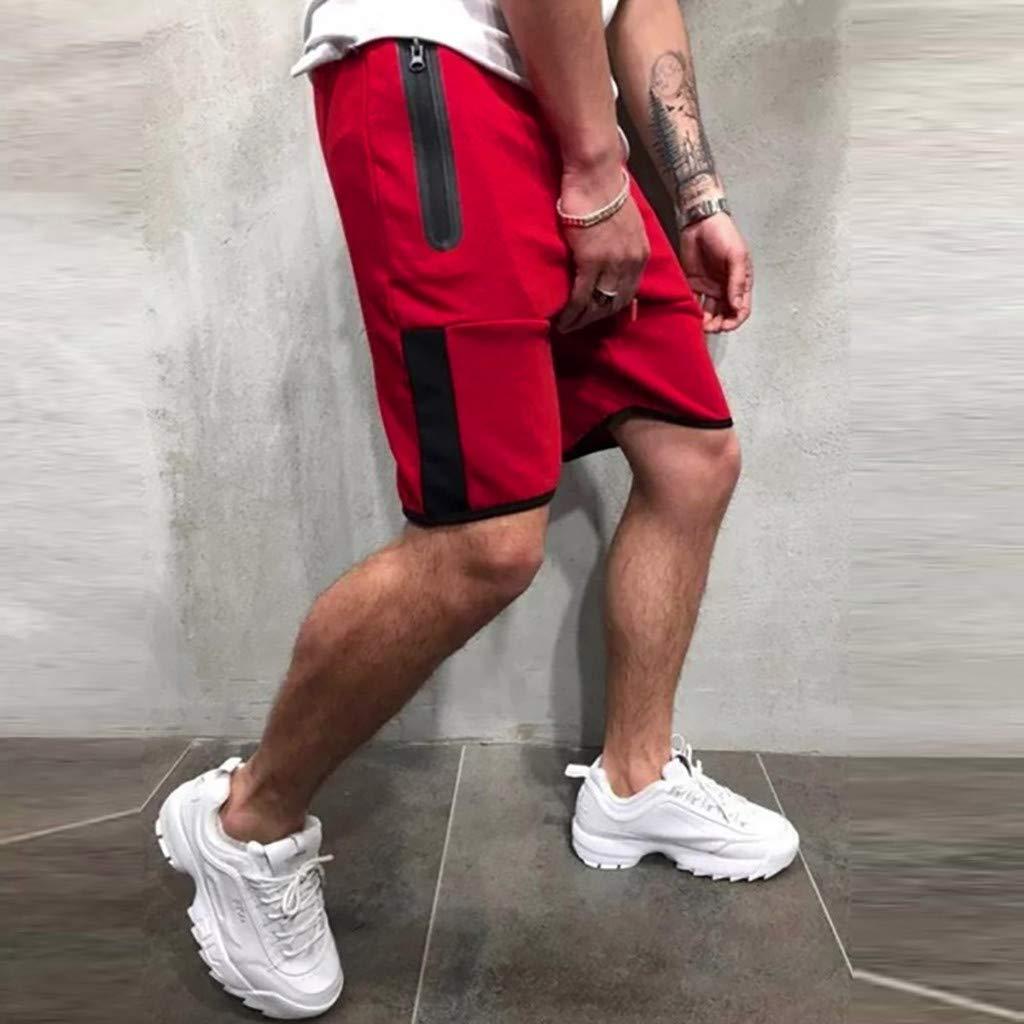 NUWFOR Men Zipper Casual Splice Stripe Beach Work Casual Men Short Trouser Shorts Pants(Red,US:S Waist25.98-29.92''') by NUWFOR (Image #3)