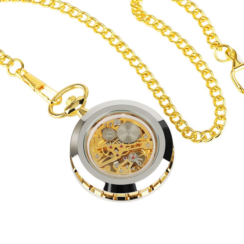 Luxury Pocket Watch Skeleton Steampunk Mechanical Hand Wind Pocket Watch, Best Gift for Men by UP Dream (Image #4)