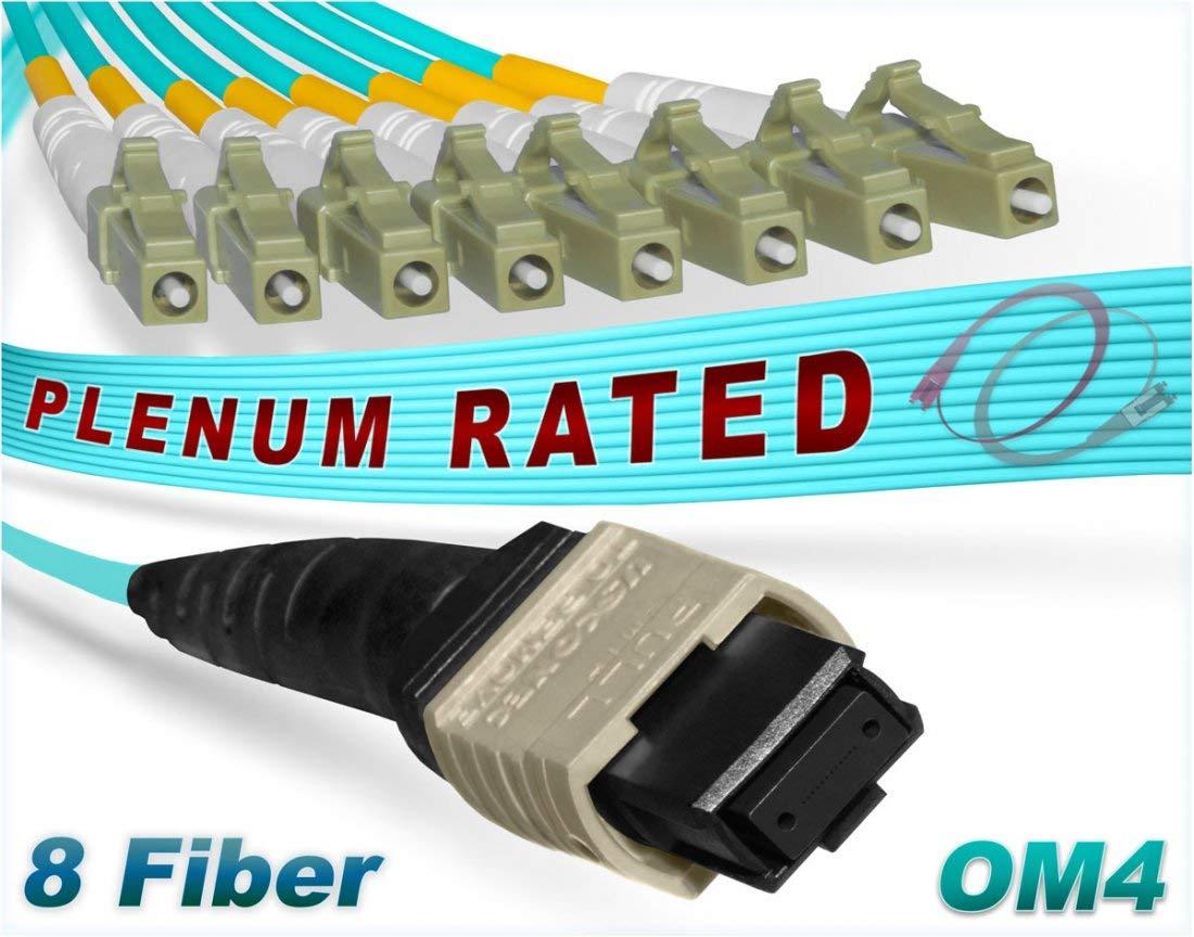 FiberCablesDirect - 6M OM4 MTP LCx8 Multi-Fiber Breakout Cable   100G Plenum 50/125 MTP to 8xLC Multimode Jumper 6 Meter (19.68ft)   Length Options: 0.5M-300M   1/10/40/100g qsfp 100gbase ofnp mtp-8lc