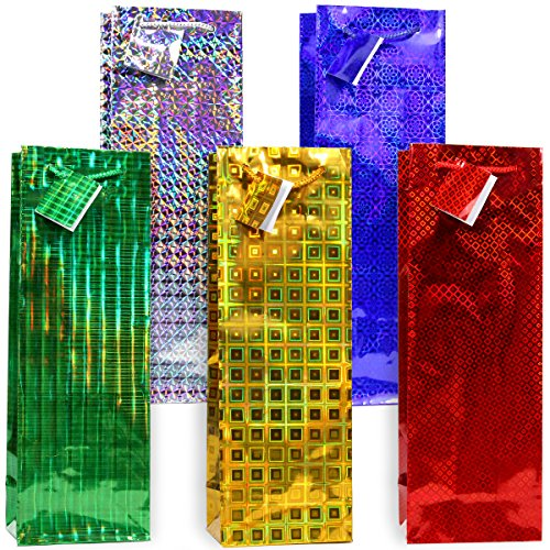 Hologram Gift Bags - 12pc,Wine Gift Bags, Hologram gift wine bag with assorted designs