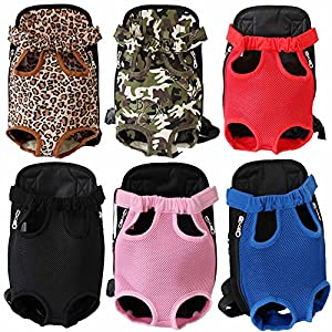 SRI Adjustable Puppy Cat Pet Carrier Backpack Travel Bag Legs Out Easy-Fit for Traveling Hiking Camping (Black, Large)