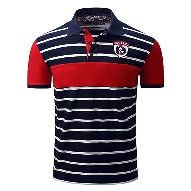 Camisa De Polo Hombres Camisa De Retro Polo De Rayas De La Moda De ...