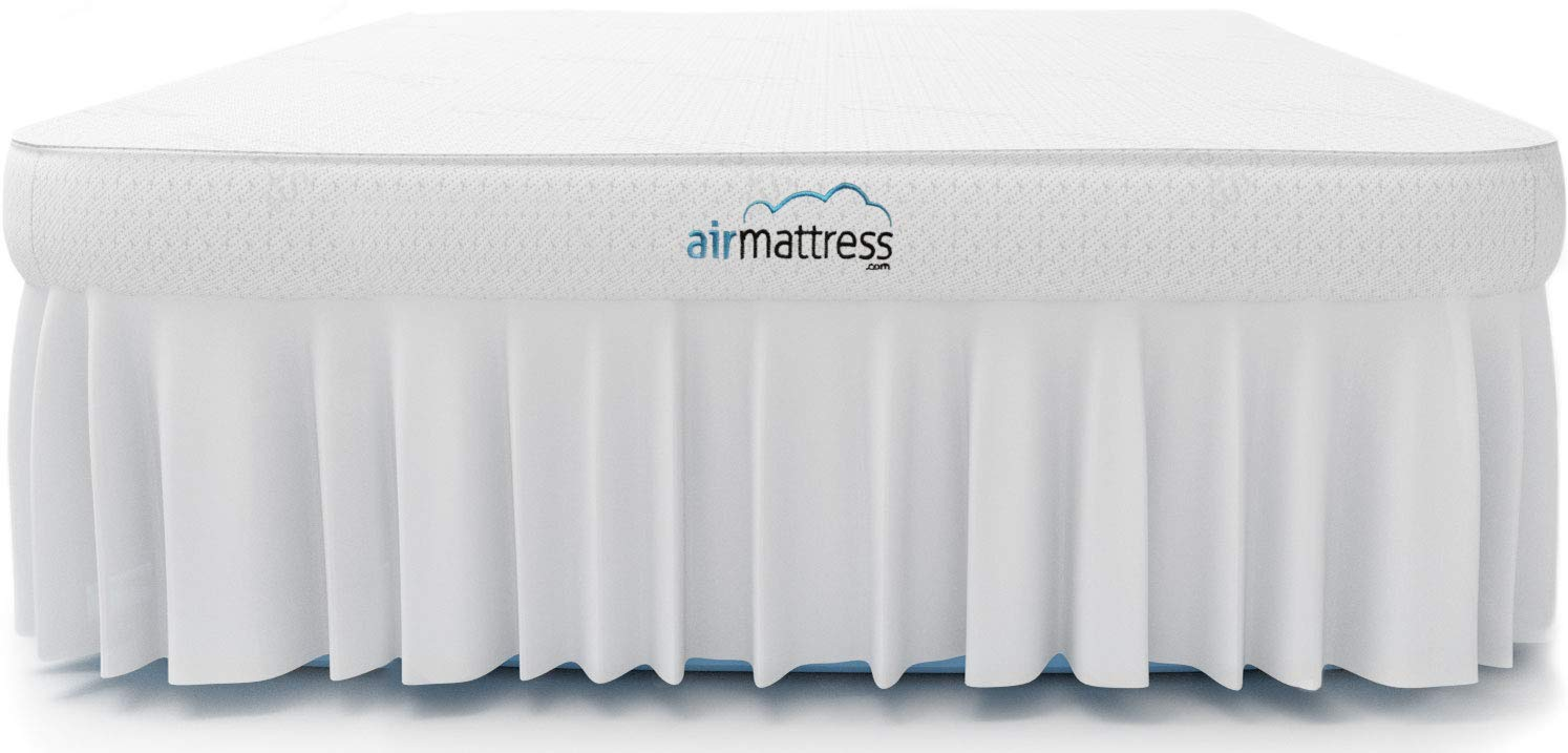 Air Mattress - Best Choice RAISED Inflatable Bed with Fitted Sheet and Bed Skirt - Built-in High Capacity Airbed Pump Fox Air Beds