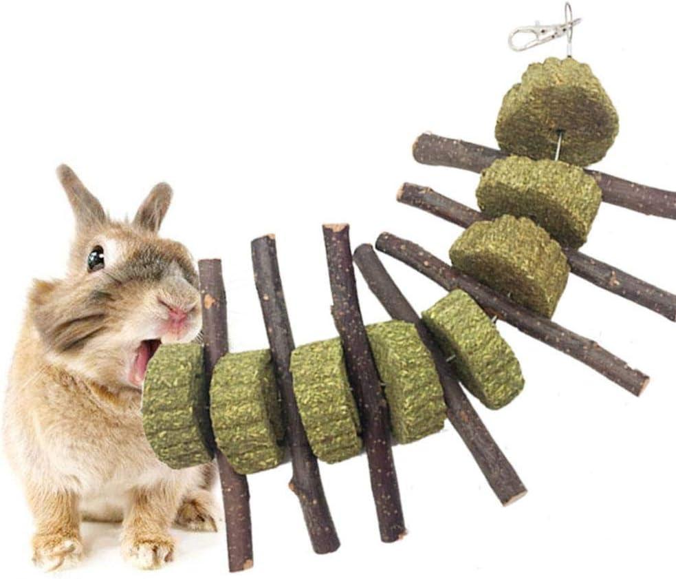 AUOKER Masticar Juguetes para Hámsters Manzana Palos De Madera, Natural Ramas Molar y Dientes de molienda de Juguete para Pequeños Animales Conejos, Chinchillas, Hámsters, Conejillos de Indias