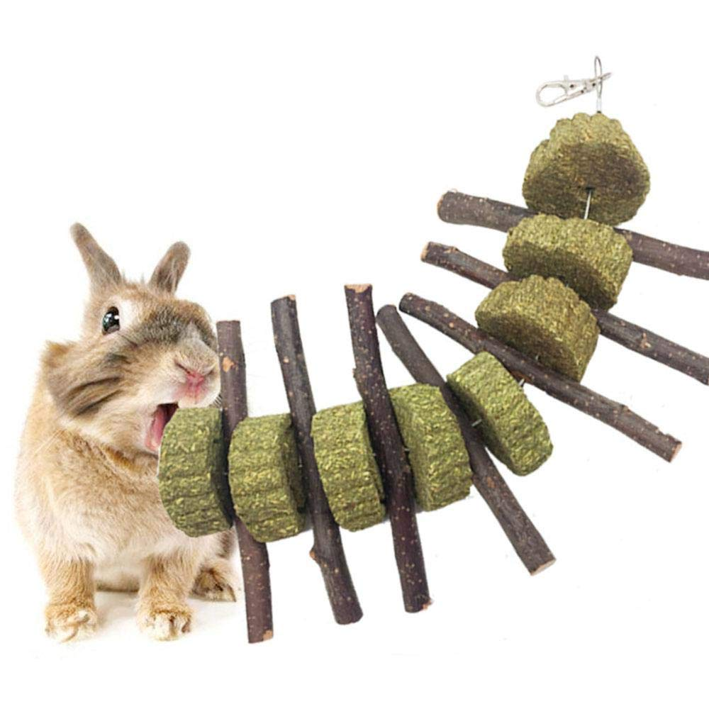 AUOKER Bunny Chew Toys for Teeth, Organic Apple Wood Sticks for Bunny, Rabbits, Chinchilla, Guinea Pigs, Hamsters, Parrots and Other Small Animals Chewing/Playing, Pet Snacks Toys with Grass Cake