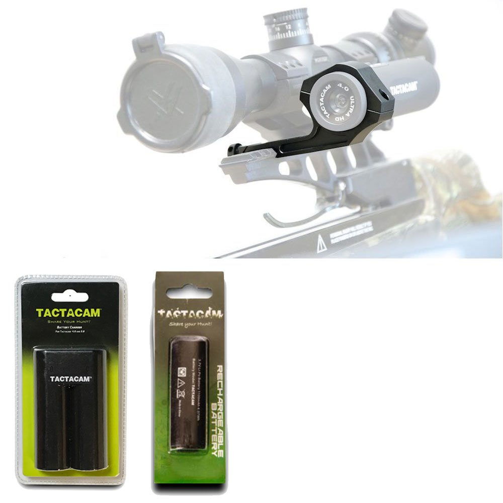 Tactacam Under Scope Crossbow Mount 5.0 4.0 Solo Charger For Battery 4 Rechargeable Battery for 3.0 4.0 – Deluxe Bundle