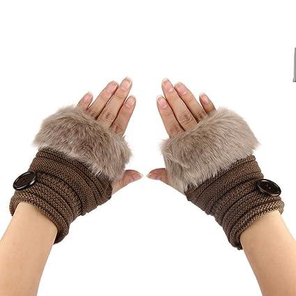 TUDUZ Damen Faux Kaninchen Pelz Winter Warm Fingerlose Fäustlinge Handwärmer Wrist Warmers Handschuhe