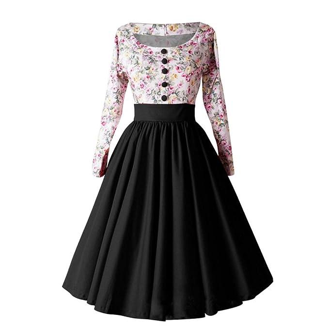 Vestidos Mujer Invierno 2018 Atractivo Vestido Vintage Mujer para Fiesta Baile 50s Floral Impresión de Vestido