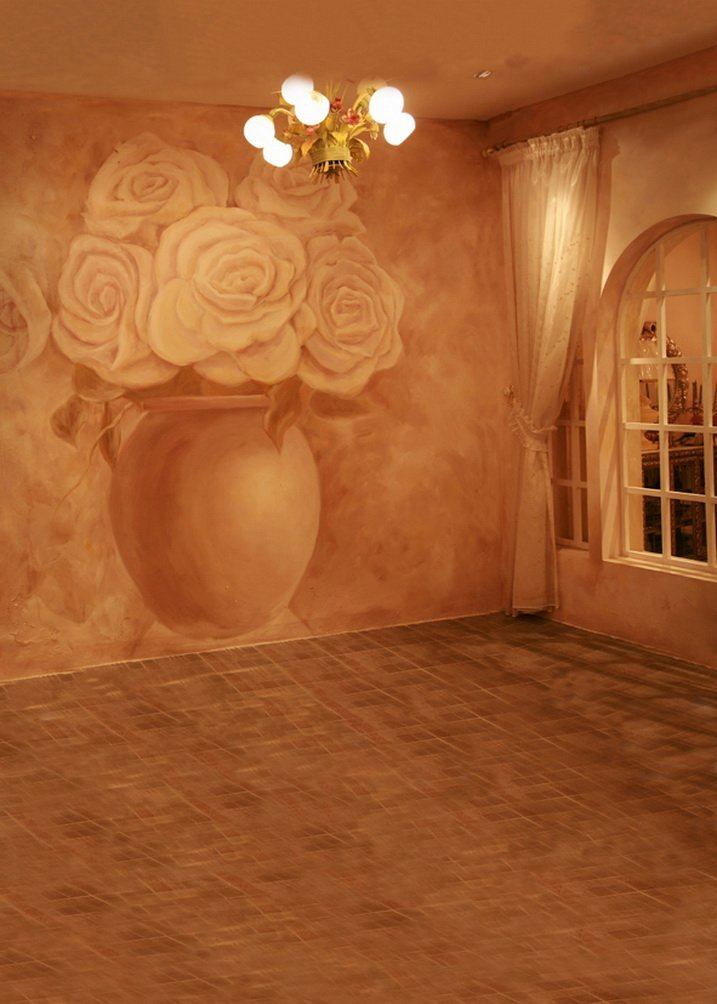 ピンク部屋花写真の背景幕写真小道具Studio背景5 x 7ft   B01G4S7J6E