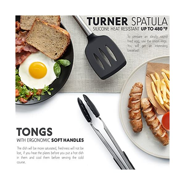 For Pots /& Pans Spatula Tools Pasta Server Nonstick Cooking Spatulas 8 Best Kitchen Utensils Ladle Strainer Kitchen Utensil Set Silicone /& Stainless Steel Kit Serving Tongs Whisk Spoon