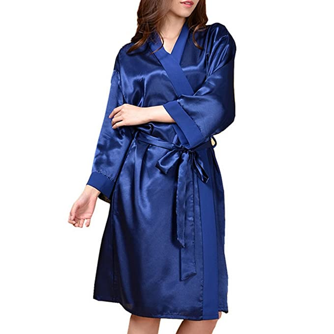 Y&L Mujeres Camisones, Batas Kimono Ropa Para Dormir, Batas De Baño De Longitud De La Rodilla Vestido De Color Sólido Cómodo Noctámbulo Azul Profundo: ...