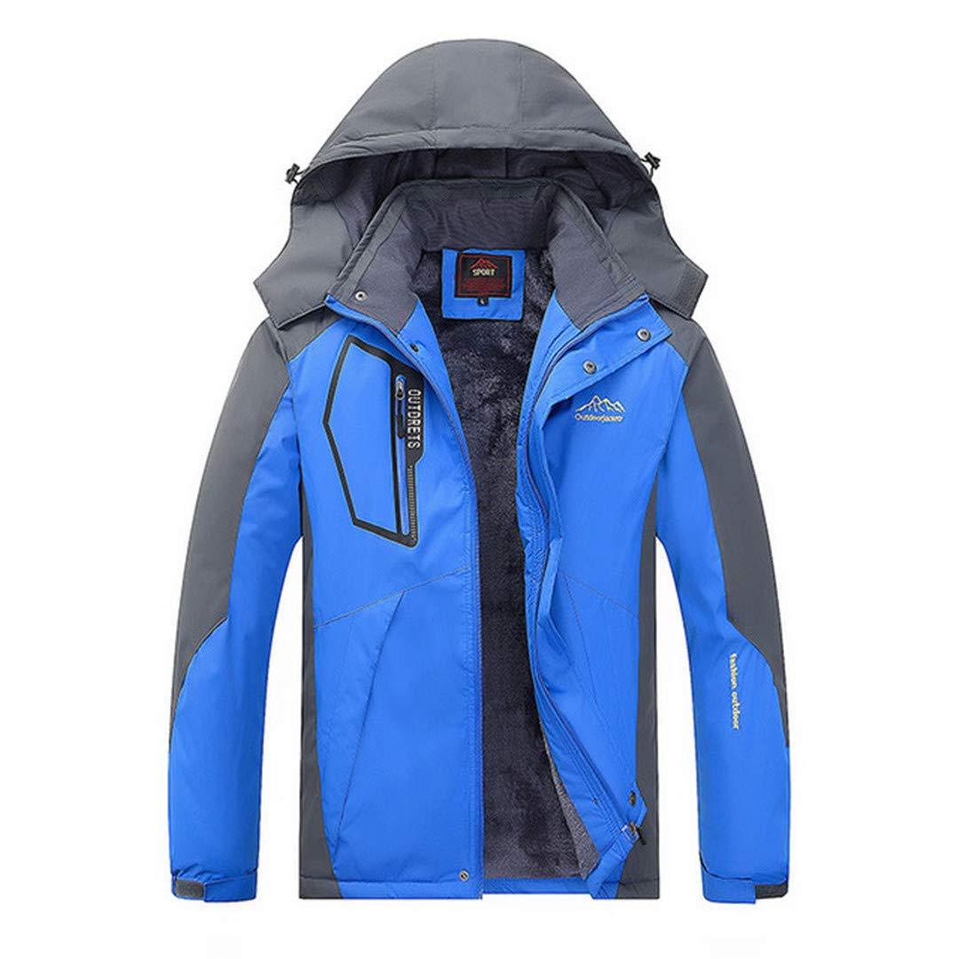 Jackenstr Männer Plus Velvet Starke mit Kapuze Winter Outdoor-Jacke Wandern Ski Warme Mäntel