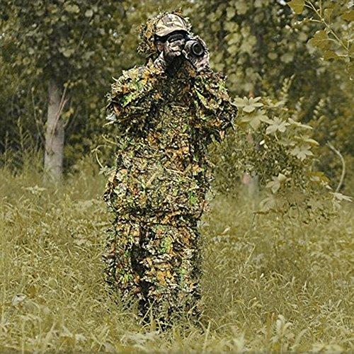 LQZ Tenue Camouflage Chasse Ensemble 3D Ghillie Suit Militaire V/êtement de Camouflage Feuille Airsoft Veste Pantalon Woodland