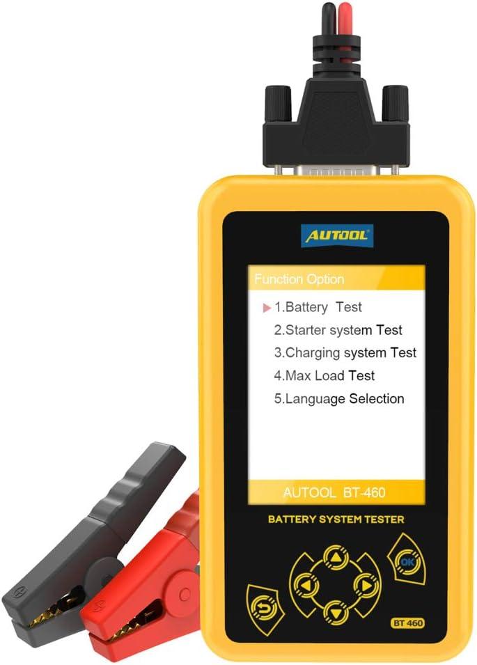 Comprobador de batería automotriz BT 460, analizador de batería de automóvil de 12 V / 24 V y herramienta de diagnóstico del sistema de arranque de carga para automóvil, camión, motocicleta o SUV