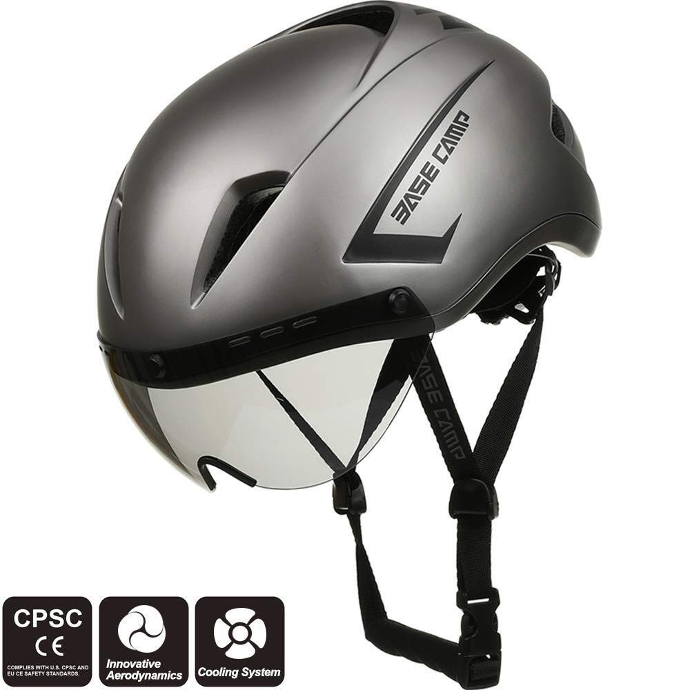 Color : Grey Base Camp Cycling Road Bike Helmet with Removable Shield Visor Grateful for everything