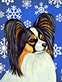 Caroline's Treasures LH9300GF Papillon Winter Snowflakes Holiday Flag, Small, Multicolor For Sale