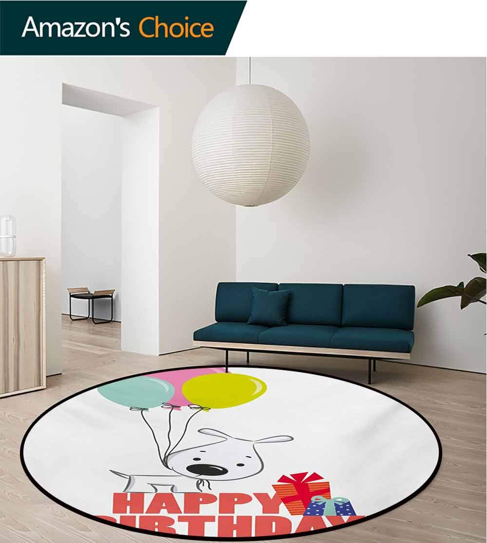 RUGSMAT Kids Birthday Modern Machine Washable Round Bath Mat,Cartoon Sketchy Dog Image with Colorful Balloons and Boxes Animal Fun Print Non-Slip Soft Floor Mat Home Decor,Round-31 Inch by RUGSMAT (Image #2)
