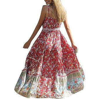 Style classique caractéristiques exceptionnelles magasins d'usine Finebo Robe Longue Boheme Femme Robes à Sans Manches Robes de Plage d'Été  Fleurie Imprimé Vintage Robe (Rouge, M)