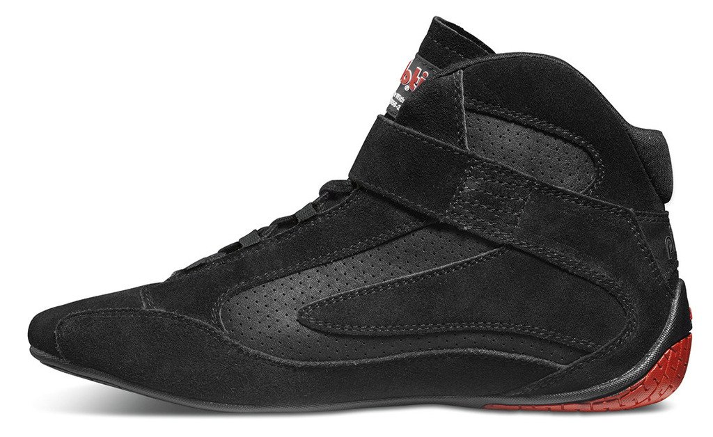 Competizione FIA Approved Racing Stiefel, Suede and Leather, Leather, Leather, schwarz with rot Detail 05e3e9