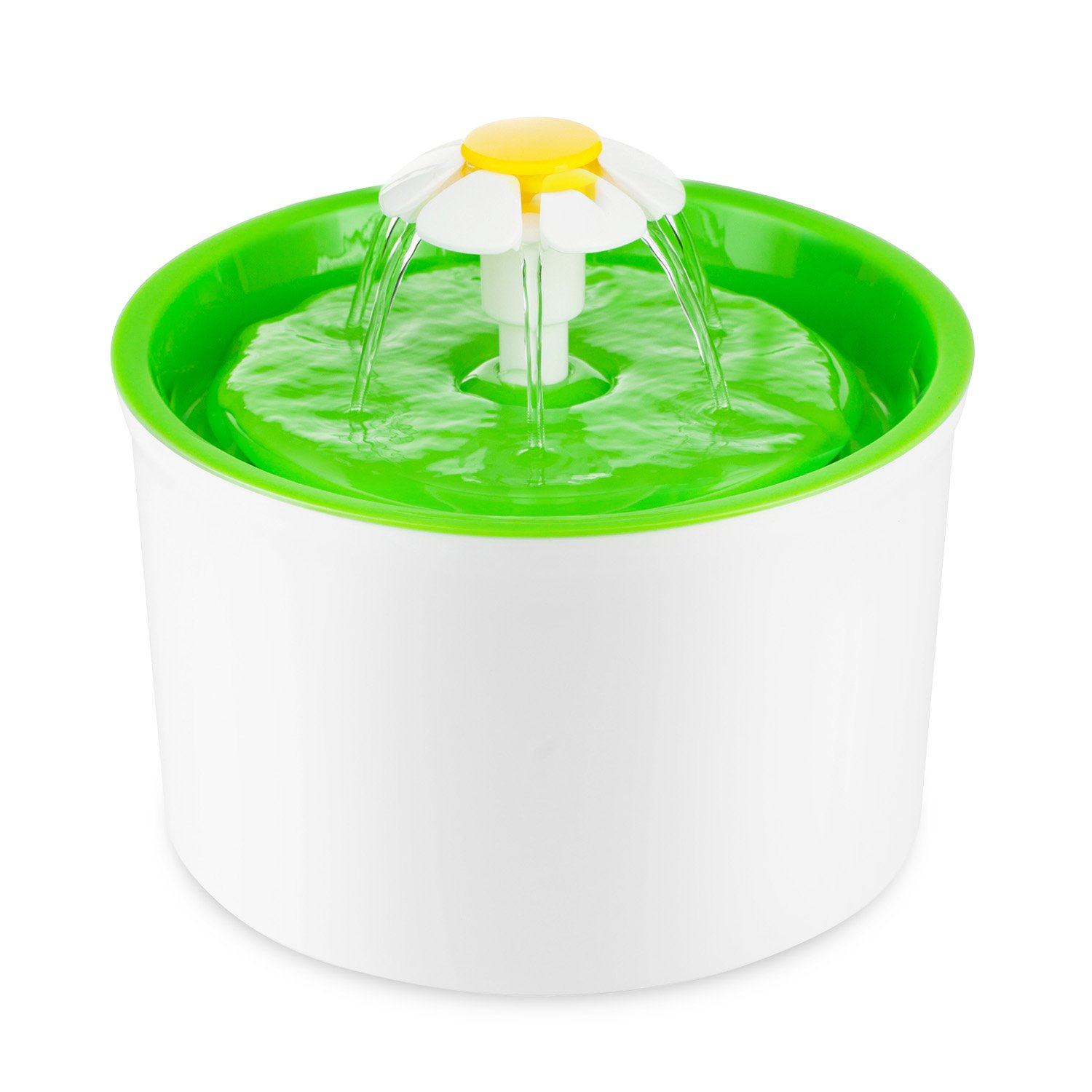 Eleoption Flower Water Fountain For Dog Cat Pets Birds Bath Feeder,Automatic Electric Cat Dog Water Dispenser Fountain Drinking Water Bowl With 1.6 L (Green FountainA)