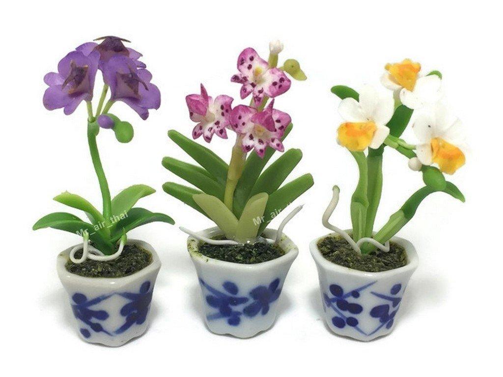 3pc Miniature Flower Clay Dollhouse Fairy Garden Mini Plant Trees Ceramic Paint Furniture Bundles Artificial Flowers Tiny Orchid #080