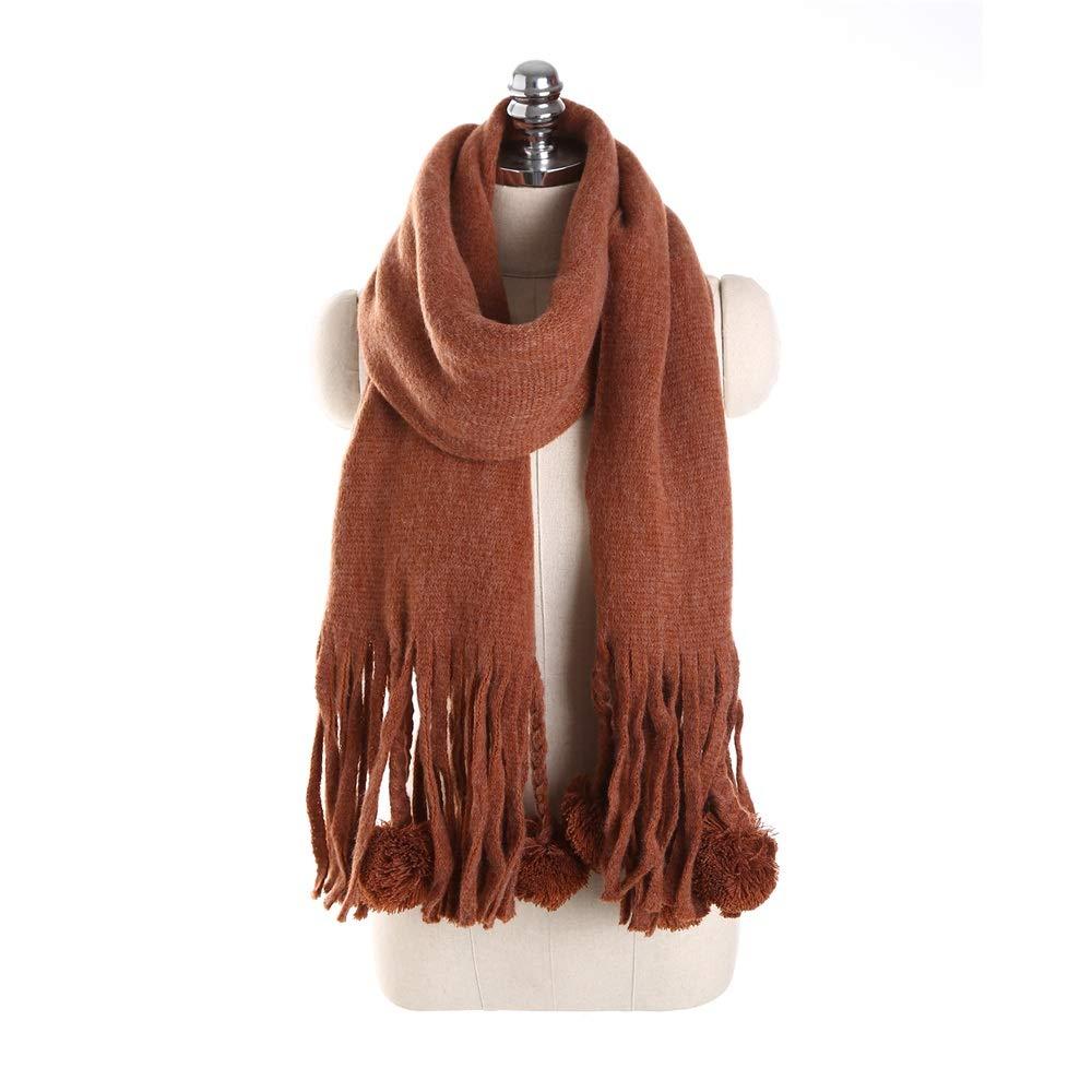 Tassel Hair Ball Womens Snowstorm Soft Feel Shawls Wraps A Long Winter Scarf (color   Brown)