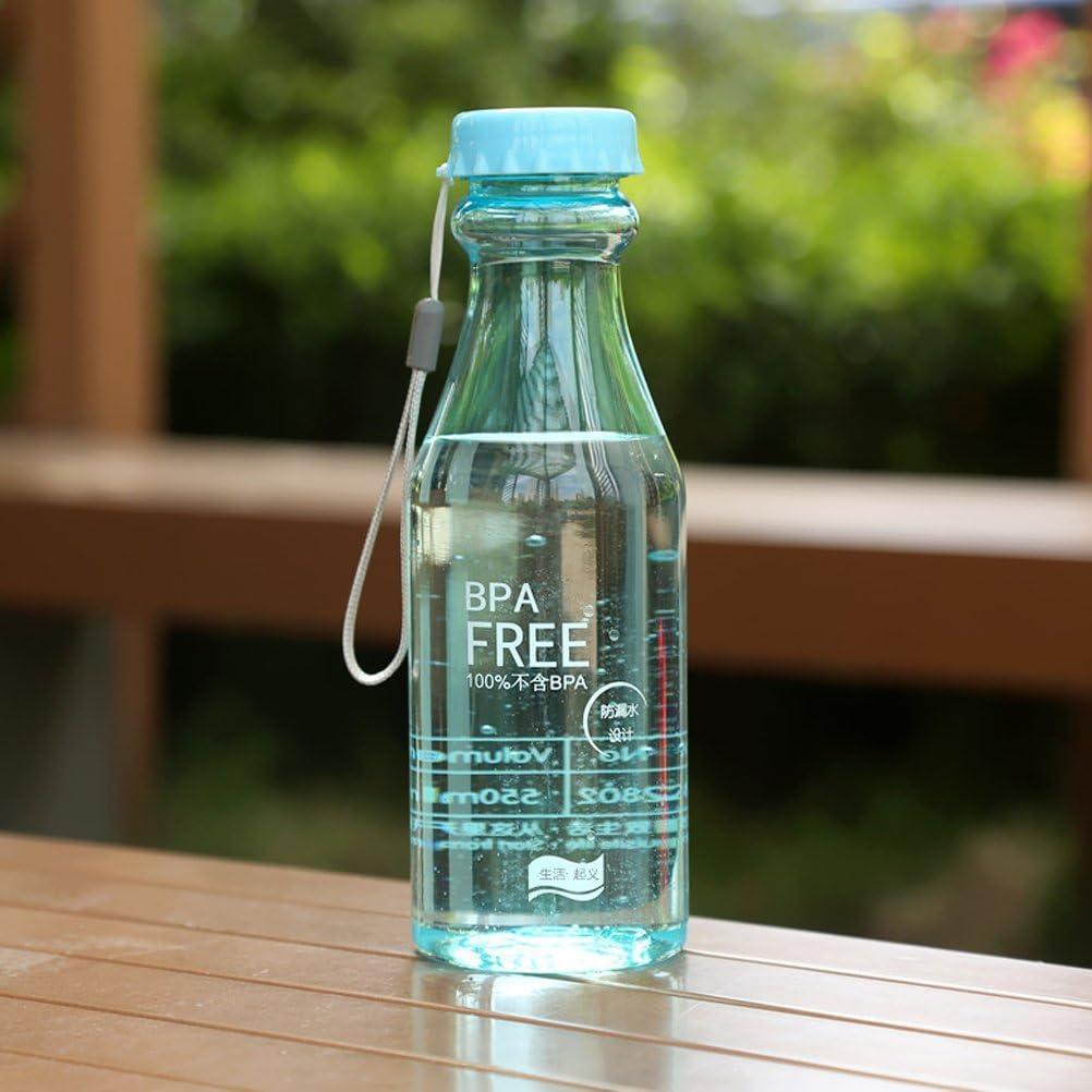 VORCOOL Botella plástica transparente a prueba de fugas libre de BPA de la botella de agua 550ml para correr deportes al aire libre (azul de cielo)