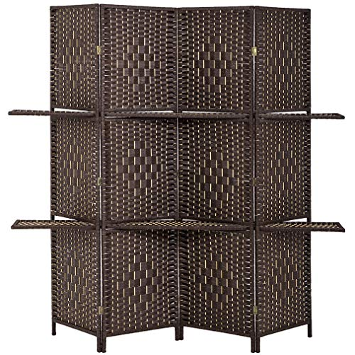 BestMassage Room Divider 4 Panel Room Screen Divider Wooden Screen Folding Portable Partition Screen Screen Wood with Removable Storage Shelves Colour Brown