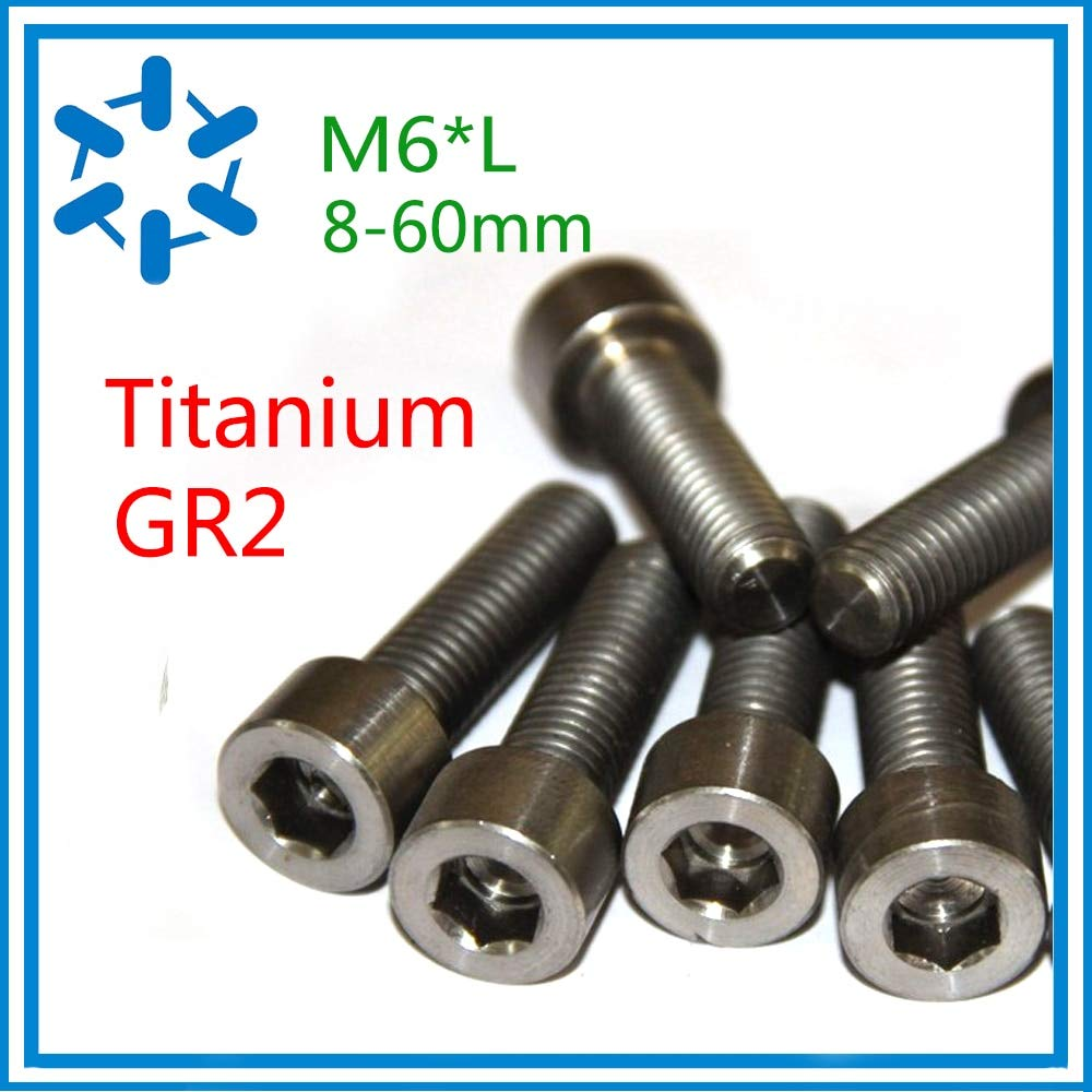 Ochoos 50pcs/lot DIN912 Titanium Hex Socket Cap Screws hex Bolt Ti Bolts GR2 M68/10/12/15/20/25/30/35/40/45/50/55/60 Small Screw - (Dimensions: M6x15)