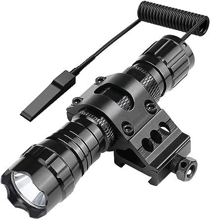 Tactical Birghtness White LED Flashlight 20mm Picatinny Rail For Rifle