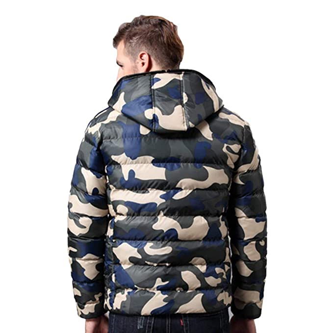 REYO Mens Jacket Clearance Winter Warm Hooded Down Jacket Casual Overcoat Outwear Camouflage Slim Trench Zipper Coat at Amazon Mens Clothing store: