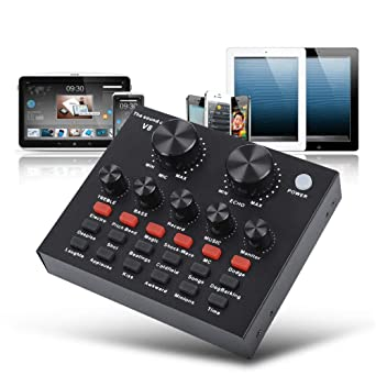 Tarjeta de sonido, V8 Karaoke grabación computadora externo USB PC ...