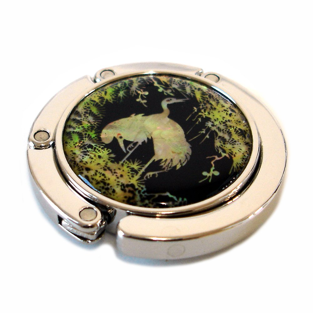Mother of Pearl Bird Green Tree Design Foldable Table Purse Caddy Handbag Holder Hanger Hook with Gift Box BagCentre