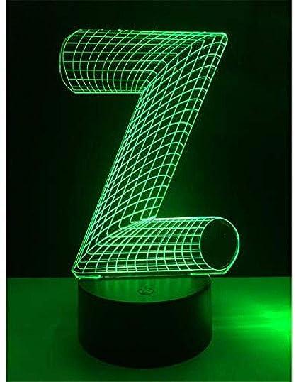 Iluminación 3D Night Light Alphabet Letter Z 7 Cambio De Color ...