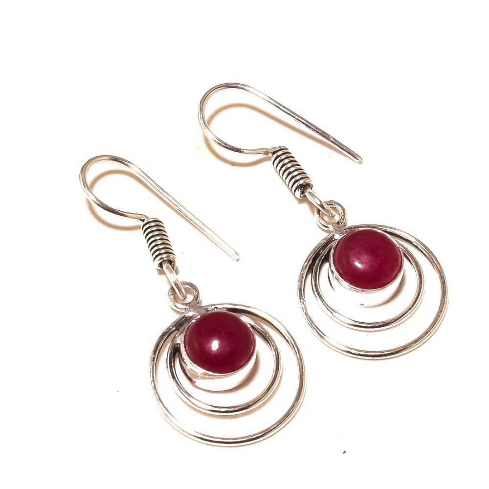 Handmade Red Dyed Ruby Sterling Silver Overlay 5 Grams Earring 1.5 New Arrival