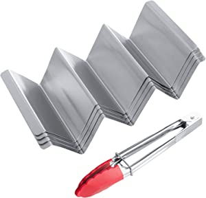 YOUYUE Taco Holders 4 Packs, Stainless Steel Taco Tray with Handles Holds 3 Tacos,Taco Serving Kit Set (4 Taco Holders and 1 silicone food tong),Safe for Baking, Grilling and Dishwasher Safe