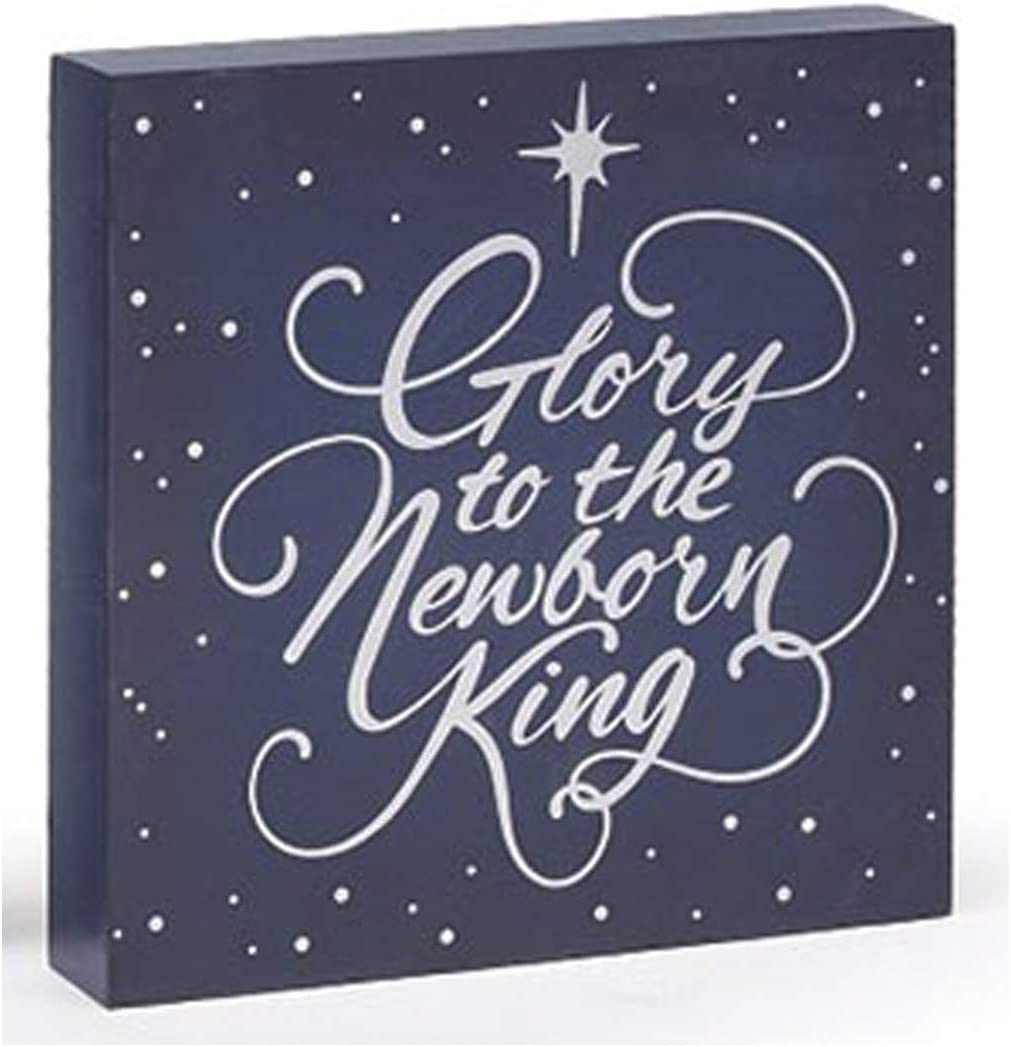 "Blue and White Religious Christmas ""Glory to The Newborn King"" Block Sign – Holiday Tabletop Decoration Christian Home Decor"