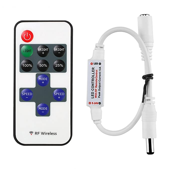 LitaElek Mini 12A LED Fernbedinung Controller für Einfarbige LED Streifen, RF Dimmer Steuerung Drahtlose Controller für alle