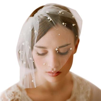 c2ae3e7345 Remeehi Pearl pelo aro diadema jaula velo de novia boda accesorios encaje  corto velo novia