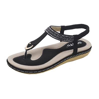 4c46e74bd UOKNICE SANDALS New Summer Women Sandals Flat Casual Metal Shoes Soft  Rhinestone Thong Sandals(Black